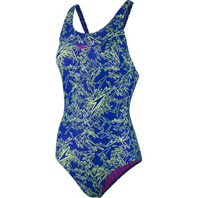 speedo Boom Allover Muscleback Swimsuit Women, blue/green